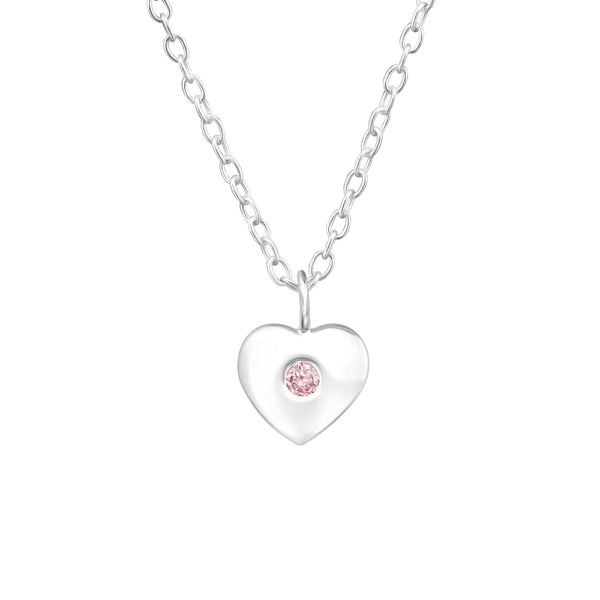 Children's Sterling Silver 'October Birthstone' Heart Necklace