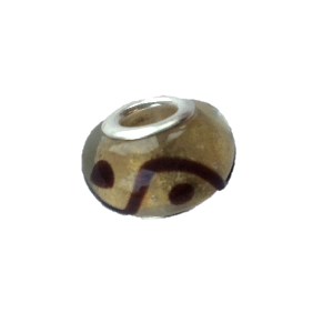 Glass 'Oriental' Bead With Silver Plated Core