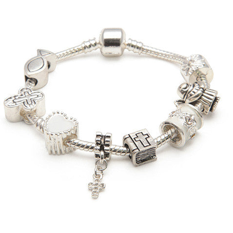 Girls First Holy Communion/Confirmation Charm Bracelet Silver Plated