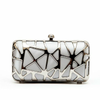 'Penelope' Silver Metal Clutch Bag