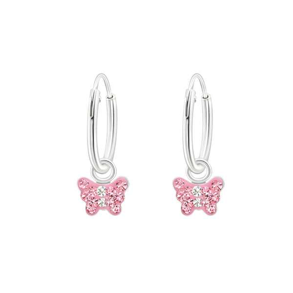 Children's Sterling Silver 'Pink Crystal Butterfly' Hoop Earrings