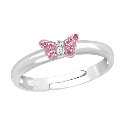 Children's Sterling Silver Adjustable Pink Diamante Butterfly Ring