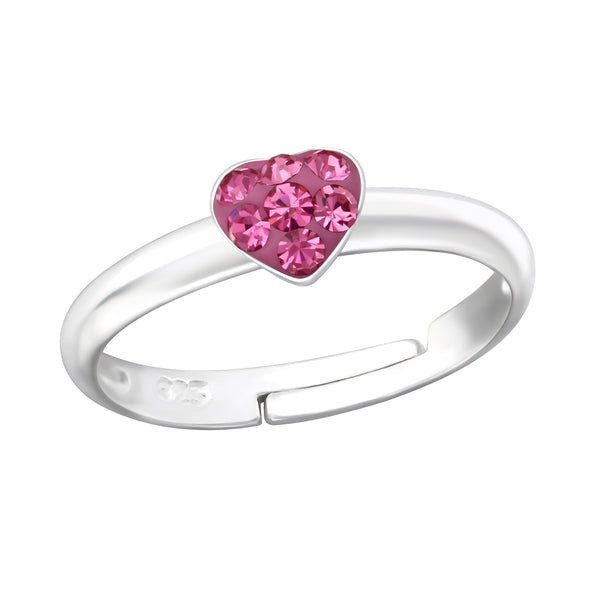 Children's Sterling Silver Adjustable Pink Diamante Heart Ring