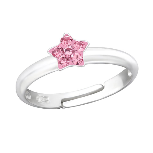 Children's Sterling Silver Adjustable Pink Diamante Star Ring