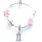 Children's Pink 'Happy 11th Birthday' Silver Plated Charm Bead Bracelet