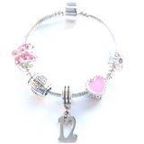 Children's Pink 'Happy 12th Birthday' Silver Plated Charm Bead Bracelet