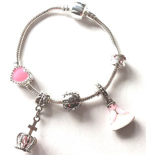 Children's Pink 'Fairytale Princess' Silver Plated Charm Bead Bracelet