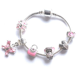 Children's Best Friend 'Pink Fairy Dream' Silver Plated Charm Bead Bracelet