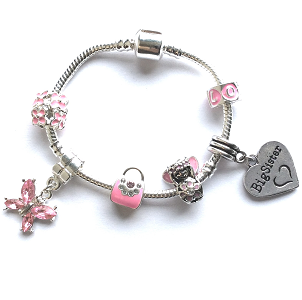 pink fairy big sister bracelet with charms and beads