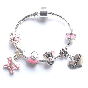 Children's Bridesmaid 'Pink Fairy Dream' Silver Plated Charm Bead Bracelet
