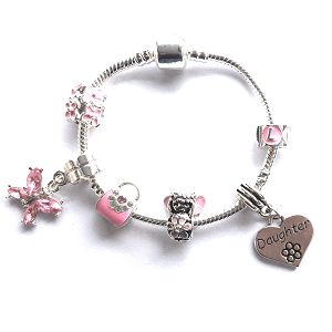 Children's Daughter 'Pink Fairy Dream' Silver Plated Charm Bead Bracelet