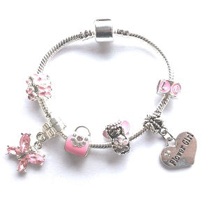 Children's Flower Girl 'Pink Fairy Dream' Silver Plated Charm Bead Bracelet