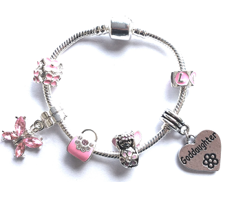Children's Goddaughter 'Pink Fairy Dream' Silver Plated Charm Bead Bracelet