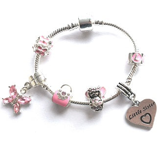 pink fairy little sister bracelet with charms and beads