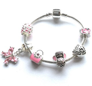 Children's Niece 'Pink Fairy Dream' Silver Plated Charm Bead Bracelet