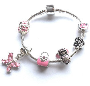 Children's Sis 'Pink Fairy Dream' Silver Plated Charm Bead Bracelet