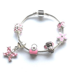 Children's Silver Plated Pink Fairy Dream Charm Bracelet