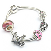 Children's Pink 'Just Hanging Sloth' Silver Plated Charm Bead Bracelet
