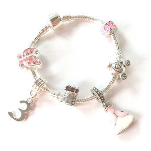 pink princess jewellery,  3rd birthday gifts girl and charm bracelet gifts for 3 year old girl