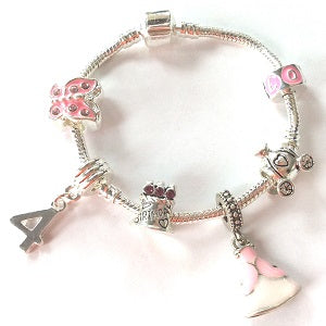 Children's 'Blue Princess 6th Birthday' Silver Plated Charm Bead Bracelet