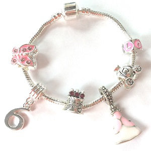 Children's 'Pink Princess 6th Birthday' Silver Plated Charm Bead Bracelet