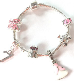 Children's 'Pink Princess 7th Birthday' Silver Plated Charm Bead Bracelet