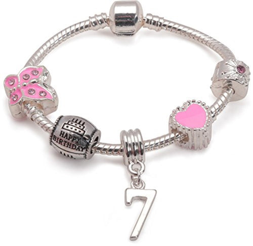 Childrens Pink 'Happy 7th Birthday' Silver Plated Charm Bead Bracelet