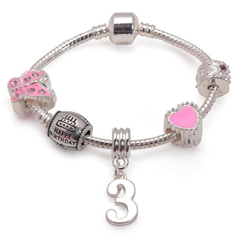 Childrens Pink 'Happy 3rd Birthday' Silver Plated Charm Bead Bracelet