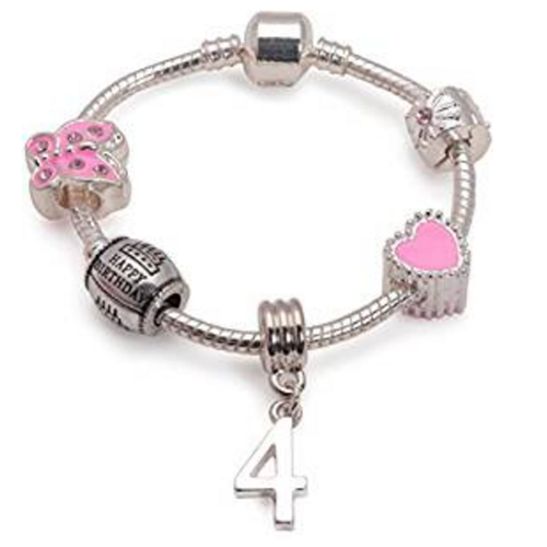 Children's Pink 'Happy 4th Birthday' Silver Plated Charm Bead Bracelet