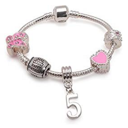 Children's Pink 'Happy 5th Birthday' Silver Plated Charm Bead Bracelet
