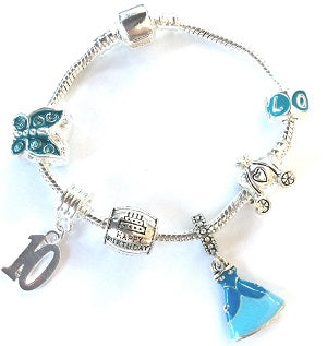 blue princess jewellery, princess bracelet, 10th birthday gifts girl and charm bracelet gifts for 10 year old girl