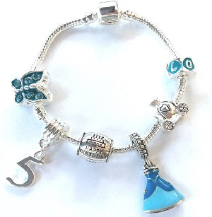 blue princess jewellery, princess bracelet, 5th birthday gifts girl and charm bracelet gifts for 5 year old girl