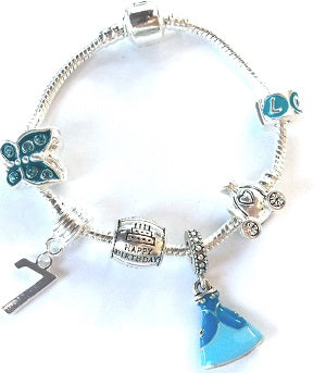 Childrens Blue Princess 7th Birthday Silver Plated Charm Bead Bracelet