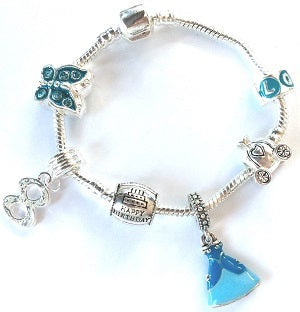 Children's 'Blue Princess 8th Birthday' Silver Plated Charm Bead Bracelet