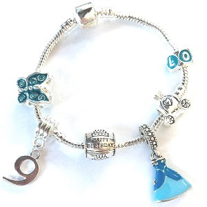 blue princess jewellery, princess bracelet, 9th birthday gifts girl and charm bracelet gifts for 9 year old girl