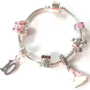 pink princess jewellery, princess bracelet, 10th birthday gifts girl and charm bracelet gifts for 10 year old girl