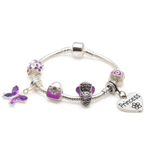 Children's Princess 'Purple Fairy Dream' Silver Plated Charm Bead Bracelet