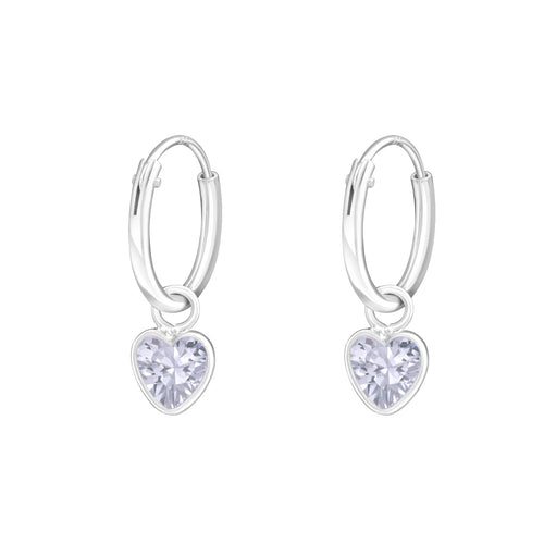 Children's Sterling Silver 'Lavender Crystal Heart' Hoop Earrings