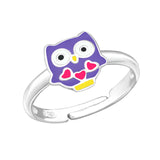 Children's Sterling Silver Adjustable Purple Owl Ring