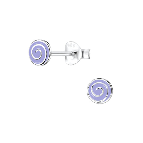 Children's Sterling Silver 'Purple Sweetie Swirl' Stud Earrings