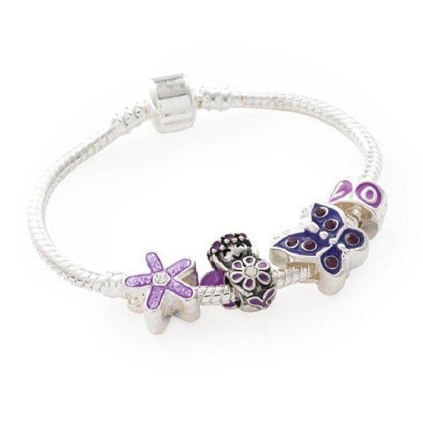 Children's 'Purple Fairy' Silver Plated Charm Bead Bracelet