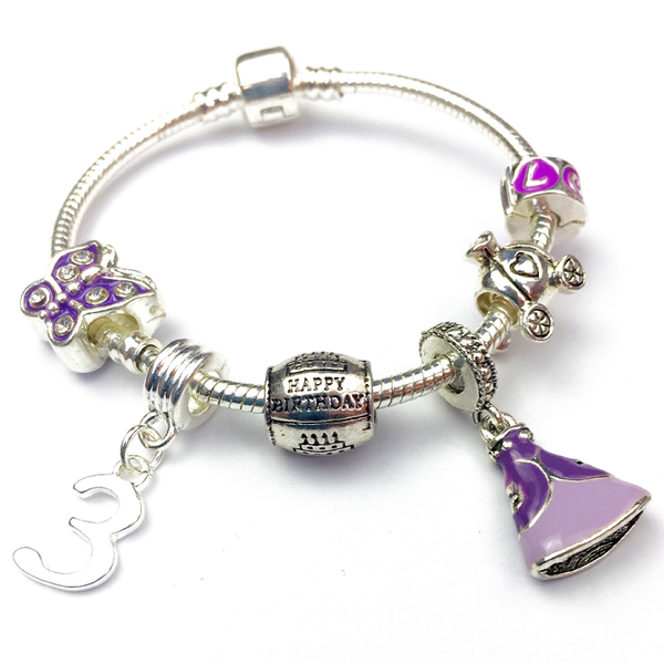 Children's 'Purple Princess 3rd Birthday' Silver Plated Charm Bead Bracelet