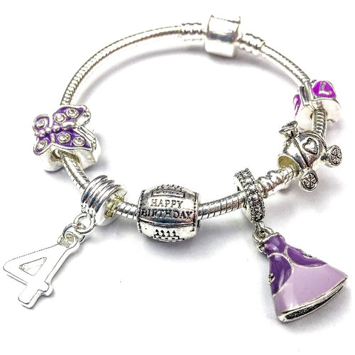 Children's 'Purple Princess 4th Birthday' Silver Plated Charm Bead Bracelet