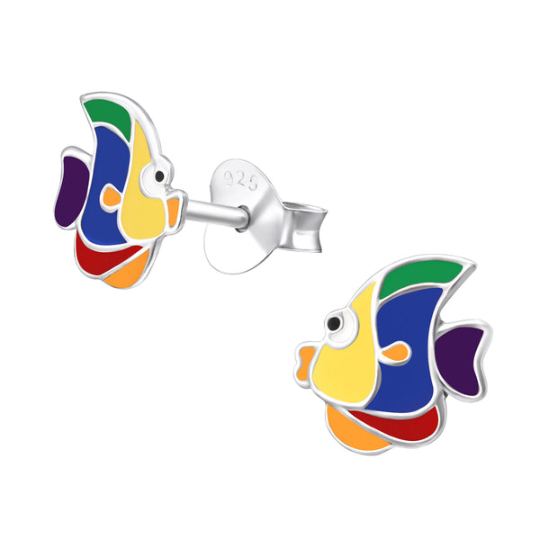 Children's Sterling Silver Rainbow Fish Stud Earrings