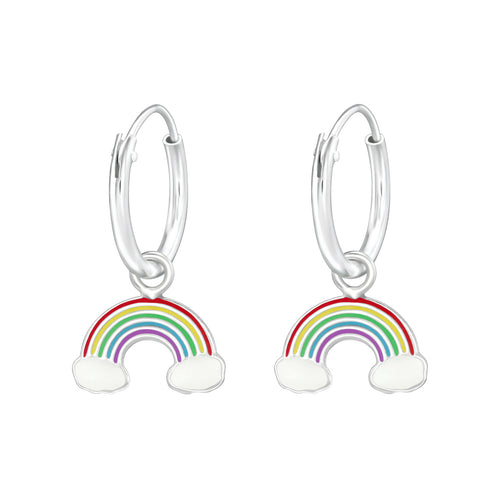 Children's Sterling Silver 'Rainbow' Hoop Earrings