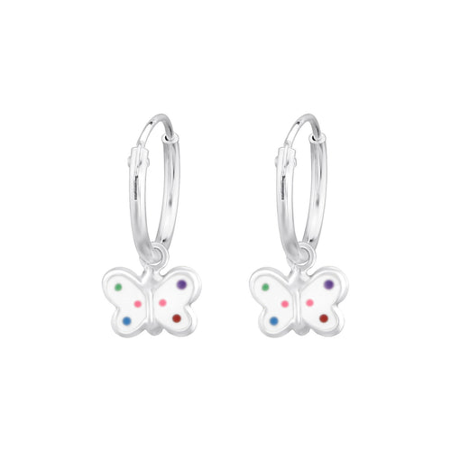 Children's Sterling Silver 'Rainbow Spot Butterfly' Hoop Earrings