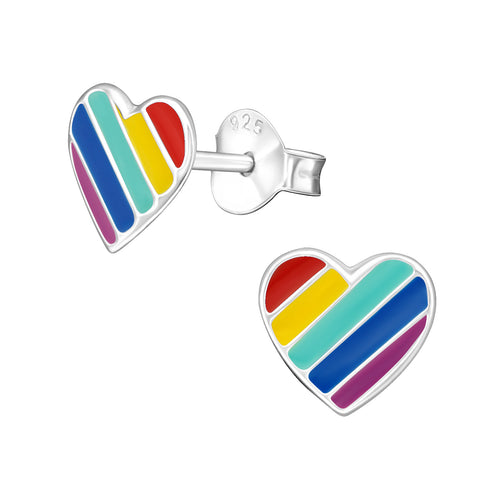 Children's Sterling Silver 'Rainbow Heart' Stud Earrings