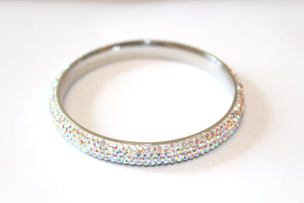 Stainless Steel & Czech 'Rainbow Sparkle' Rainbow and Silver Bangle/Bracelet