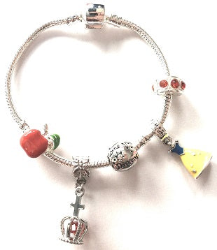Children's Red and Yellow 'Fairytale Princess' Silver Plated Charm Bead Bracelet