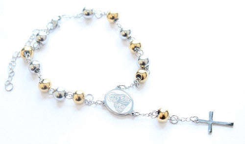 Silver and Golden Coloured Catholic Rosary/Prayer Bead Bracelet